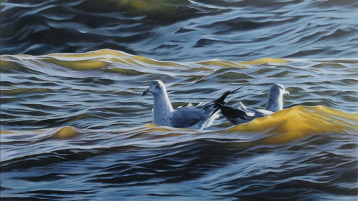 """Three waves, two birds, one love"" - Öl auf Leinwand, 90x60 cm, 2021 - 2.510€"