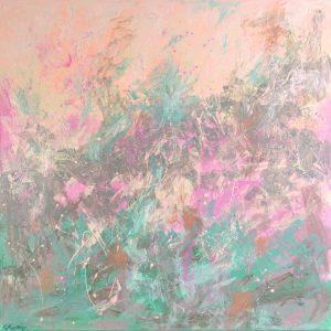 Ewa Martens, April Rain, acrylic on canvas, 80x80cm, 2020