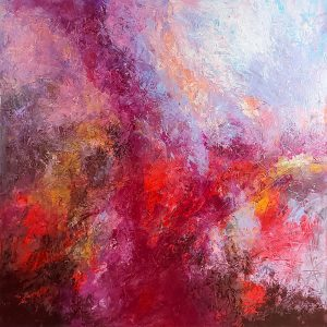 Ewa Martens, Facing The Hurricane, acrylic on canvas, 100x100 cm, 2021