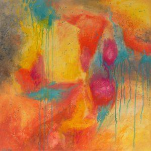 Ewa Martens, Garden of Love, acrylic on canvas, 80x80 cm, 2019