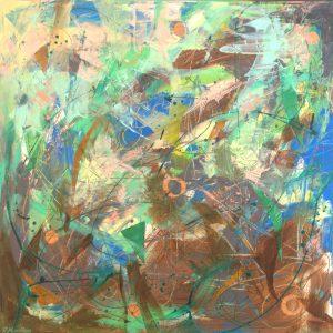 Ewa Martens, Secret Garden, acrylic on canvas, 64x64 cm, 2019