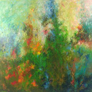 Ewa Martens, The Garden of Eden, acrylic on canvas, 100x100 cm, 2020