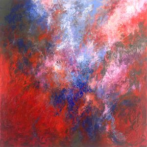 Ewa Martens, Through Space and Time, acrylic on canvas, 90x90 cm, 2020
