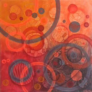 Ewa Martens, Time Window-Fire and Flames II, acrylic on canvas, 50x50 cm, 2019