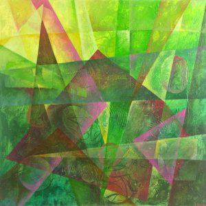 Ewa Martens, Time Window-Green Power, acrylic on canvas, 80x80 cm, 2016