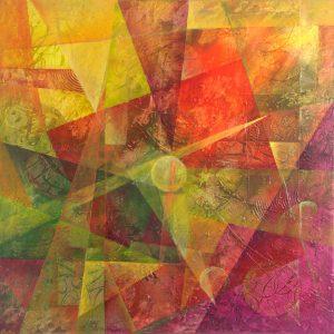 Ewa Martens, Time Window-Inner Warmth, acrylic on canvas, 80x80 cm, 2016