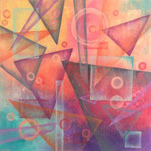 Ewa Martens, Time Window-Weightless, acrylic on canvas, 80x80 cm, 2017