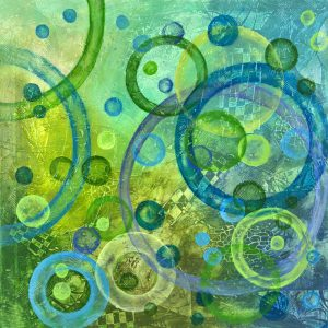 Ewa Mrtens, Time Window-Go Green, acrylic on canvas, 84x84 cm, 2016